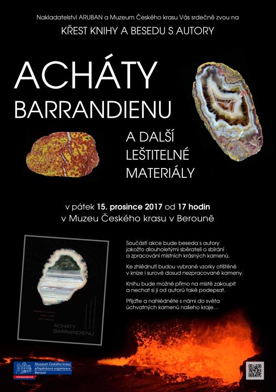 Plakát na křest knihy Acháty barrandienu a další leštitelné materiály